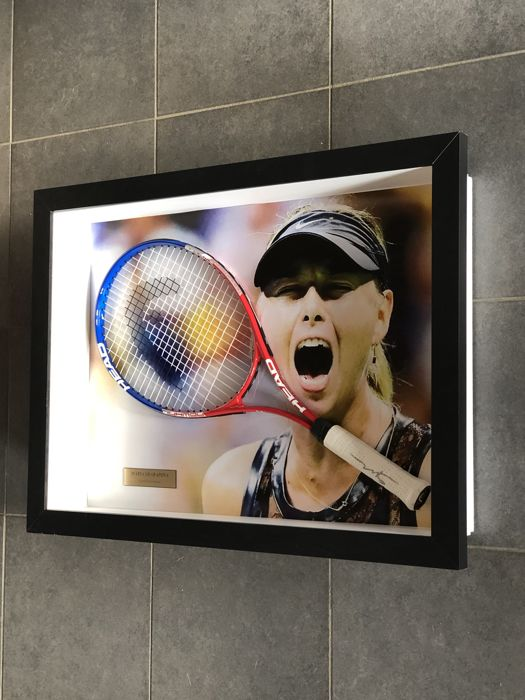 Maria Sharopova autographed framed HEAD tennis racket with pictures of the signing and COA