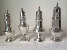Four sterling shakers, England, 1st half of 20th century