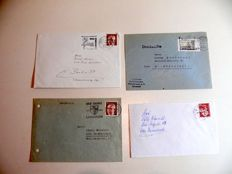 Letters/envelopes and postcards with DM- and Euro postage + over 230 FDS
