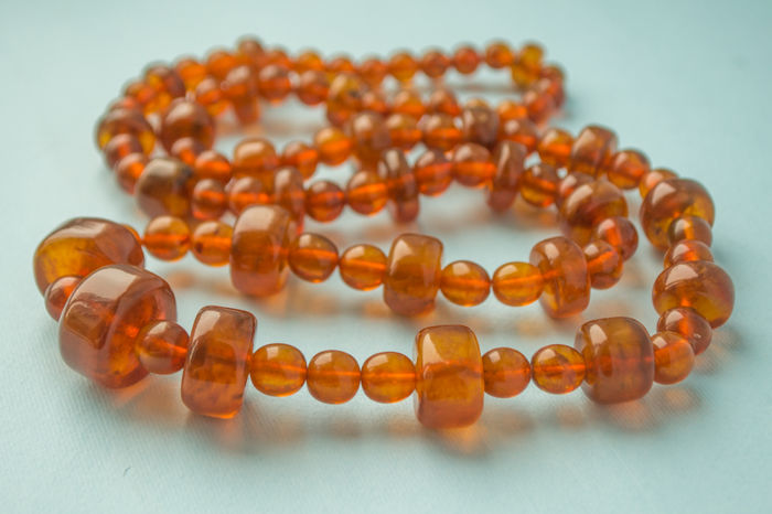 Vintage natural Baltic Amber necklace old honey butterscotch cognac color, 69 gram