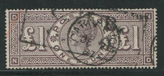 Great-Britain 1884 – Queen Victoria – £1 brown-lilac – Stanley Gibbons 185 watermark Anchor