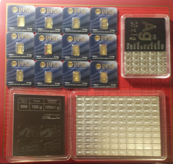 Assorted .999 gold and .999 silver ingots, all LBMA
