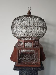 Beautiful nostalgic bird cage in wood, copper and metal - 20th century