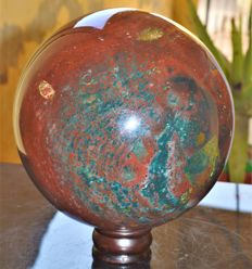 Huge Natural Bloodstone Sphere Ball With Stand - 17.5 cm - 7350 gm
