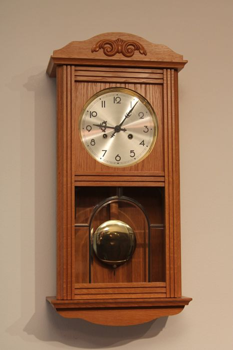 Light oak wall clock with winding key in mint condition late 20th light oak wall clock with winding key in mint condition late 20th century aloadofball Choice Image