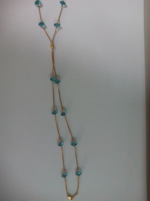 18 kt gold necklace - Size: 540 mm - with aquamarines