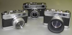 Lot of 3 cameras - Canonet junior 1963 - 2 x Minolta AL-F - 1968