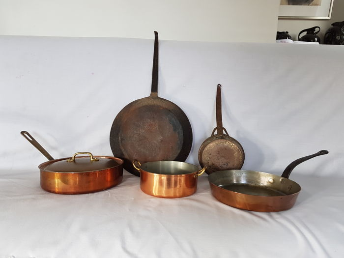 5 vintage copper pans including 3 for use