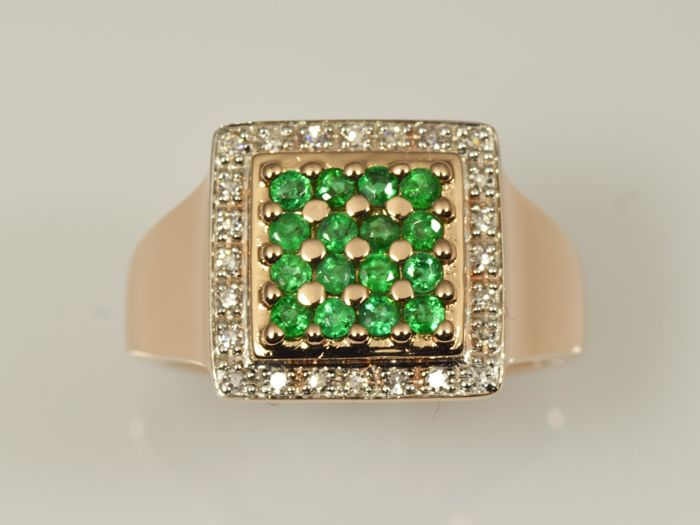 Gold, 14 kt Ring Emerald Diamond Size 55 (ø 17.5 mm)