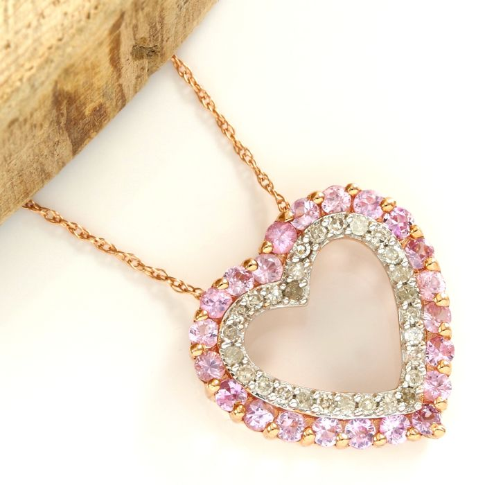 14kt Rose Gold 1.50 ct Pink Topaz, 0.30 ct Diamond Heart Pendant Necklace - 45 cm  - no reserve price