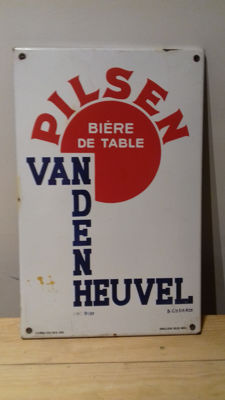 Advertising sign enamel - Pilsen Van den Heuvel - 1950s-60s