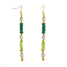 Pair of 14 kt/585 yellow gold earwire earrings with jade, pearl and olivine - Length 8 cm