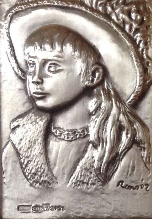 Silver bas-relief Auguste Renoir - .925 silver, Filled up - Italy - Second half 20th century
