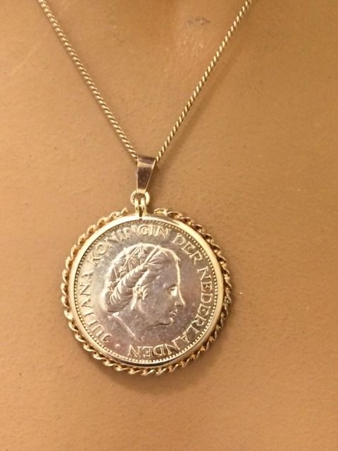 Silver Rijksdaalder coin with a curb link necklace (silver) - Juliana - 1959 - 56 cm