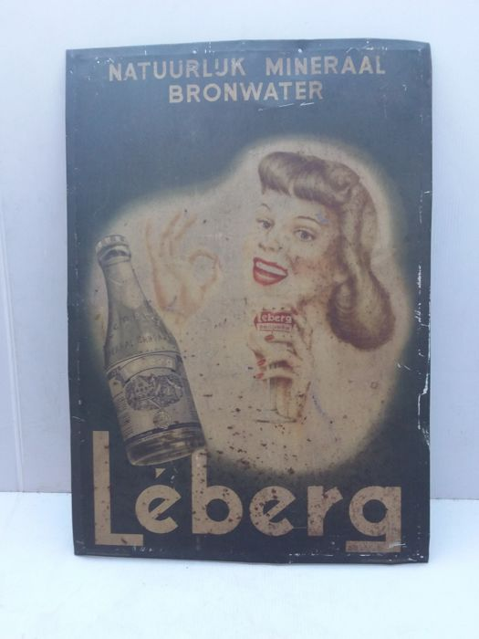 Rare very old tin Leberg sign - 1951