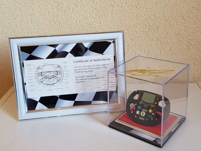 Michael Schumacher - hand signed display case incl. hand made Ltd. Edition Amalgan Steer 2004 scale 1:4 + COA