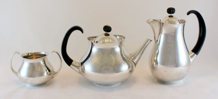 Mappin & Webb - Silver plate tea / coffee service, Design by Eric Clements, C.1960's