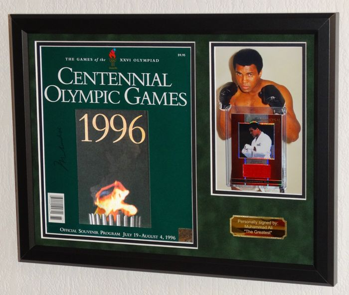 Muhammad Ali original signed 1996 (100 years) Olympic Games XXVI programme - Premium Framed + COA with photo signing session