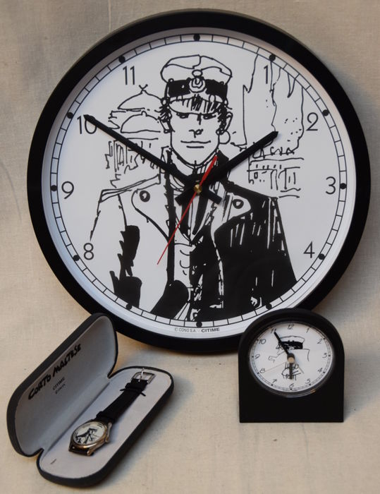 Pratt, Hugo - Corto Maltese - 1 very rare wristwatch in luxe cassette - wallclock - alarm