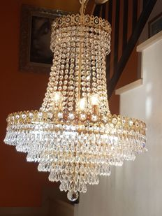 Chandelier glass teardrop lamp of high quality. 20th century