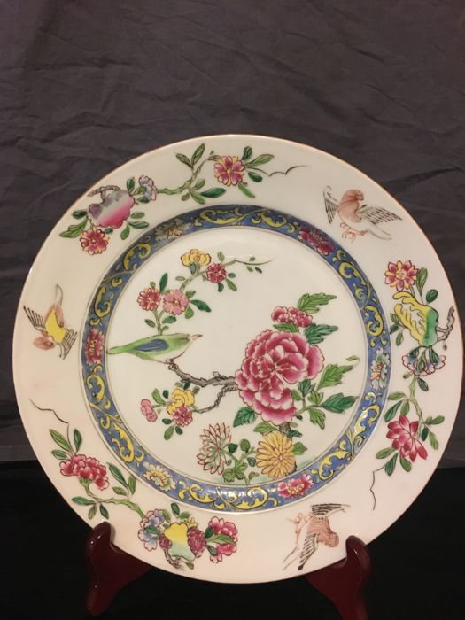 Rare plate, China flowers and birds decoration