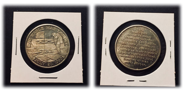 Apollo 11 - Medallion Blended with Flown Metal from Eagle Apollo 11 & Columbia Missions that went to the Moon