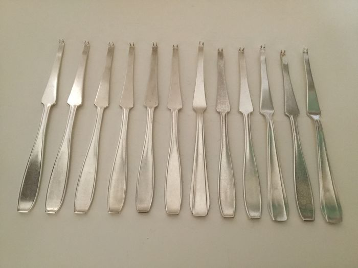 12 silver plated lobster forks, France