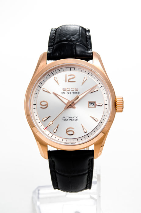 Epos - Pink Gold Plated Men's Automatic Watch - 3401/F-RG-SLV-ARAB - Hombre - 2011 - actualidad
