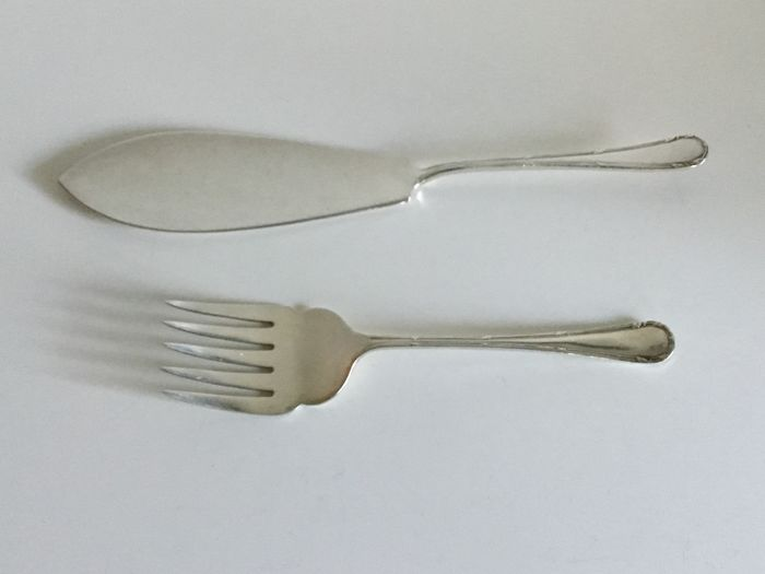 Silver plated large serving cutlery for fish