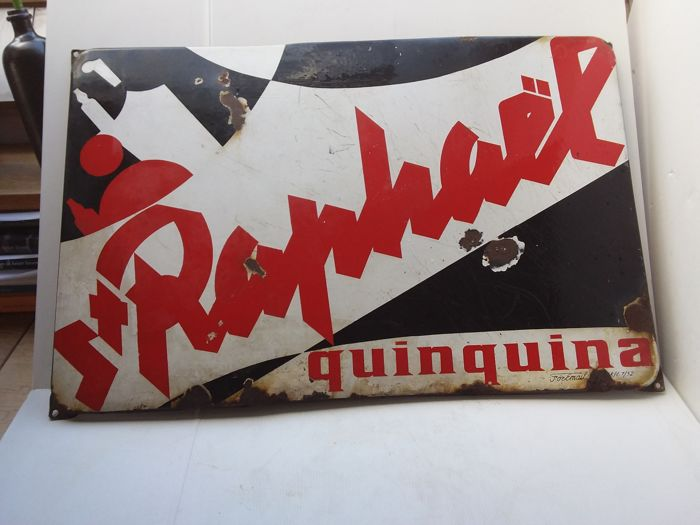 Very old enamel sign St. Raphael quinquina - 1952