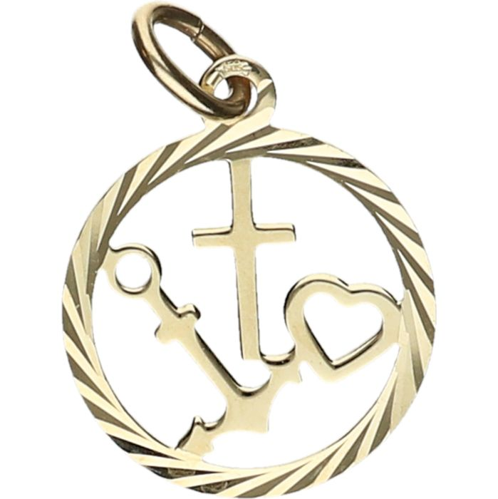 14 Kt Yellow Gold Pendant In The Shape Of The Symbols Of Hope Faith