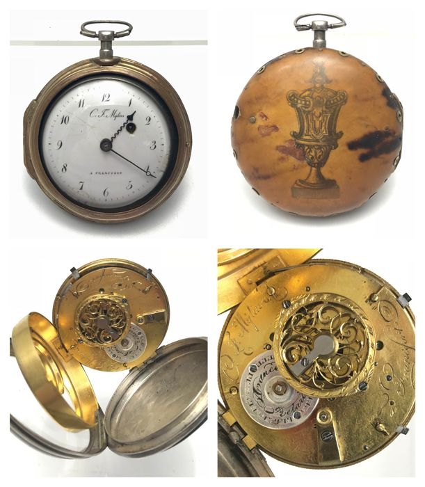 Pair cased verge fusee silver pocket watch - ca. 1800
