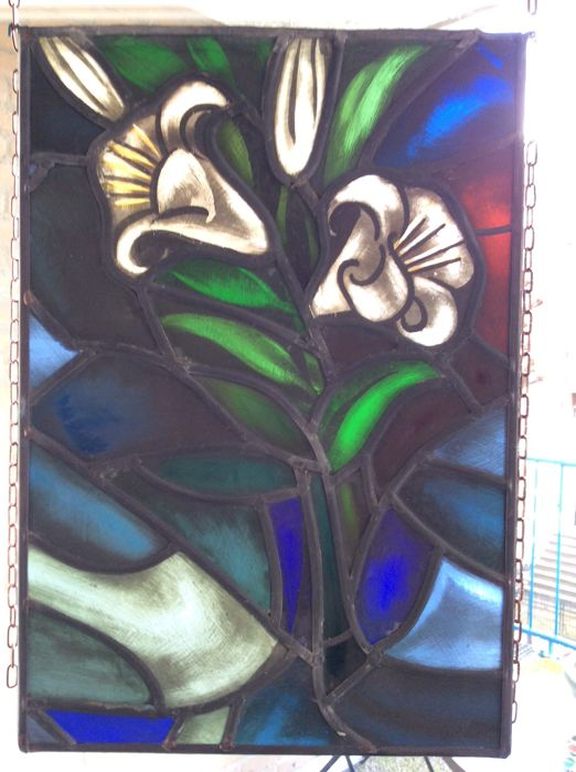 White Lilies - stained glass, painted by hand - early 1950
