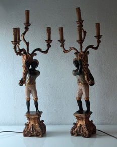Two (85 cm high) Blackmoor lamps, second halft 20th century