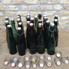 24 old flip-top bottles - beer bottles with porcelain cap from various Belgian breweries - 15 extra porcelain caps