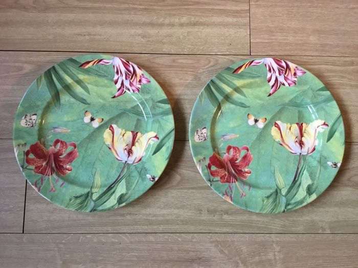 Spode Floral Heaven dinner plates green 2 pieces & Spode Floral Heaven dinner plates green 2 pieces - Catawiki