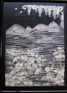 Silk embroidery of watery landscape – Japan – early 20th century