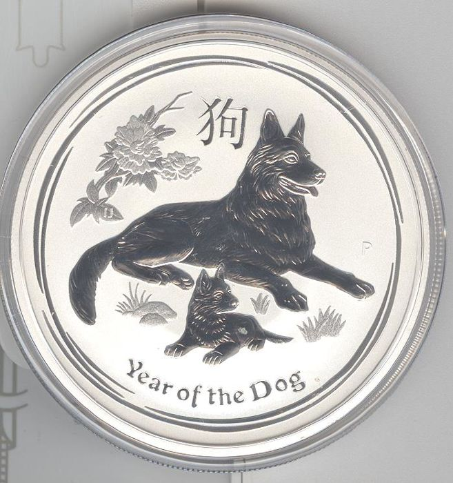 Australia - 2 dollars 2018 'Year of the dog' - 2 oz silver