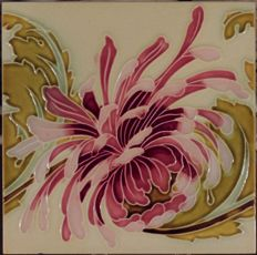 Gilliot & Cie Hemiksem - Art Nouveau tile with pink chrysanthemum