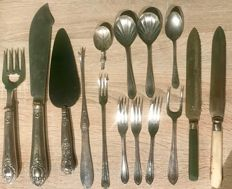 Vintage cutlery and antique silver sterling cake knife , knife and fork for serving fish