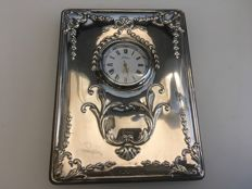Vintage Silver Cased clock with Embossed Decorated design. Sheffield 1998 . Maker. R Carr