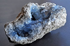 Blue Celestine crystals on matrix - 20.5 X 16.3 X 12.6 cm - 3889 gm