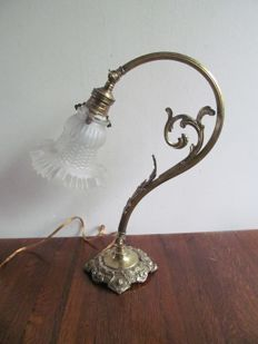 Beautiful copper Art Deco floor lamp - Copper and glass, Belgium, mid 20th century