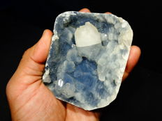 glassy Apophyllite on blue chalcedony matrix  - 9 X 7 cm - 358 gm