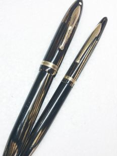 Set Sheaffer Balance Liffetime ribbed brown IOWA 1930