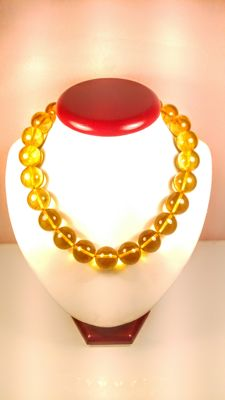 Short Honey colour modified round beads Baltic Amber necklace, length 45 cm