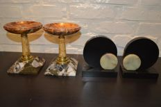 Two pairs of marble Art Deco side pieces - Tazza mantel ornaments