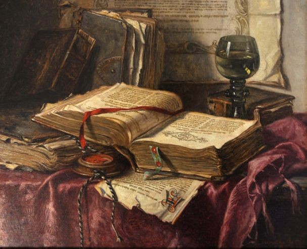 Josef Jurutka (1880-1945) - Still life with books