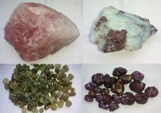 Mega mixed lot with rough stones - opal / Australia - quartz / Brazil - green garnet / USA - Ruby / Thailand - 928.00 g