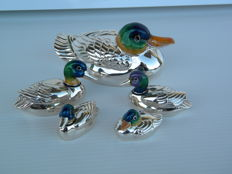 Sterling Silver Ducks Family of 5 Pieces - Saturno 182 AR - Arezzo, Italy - 20th century